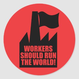 Arbeitskräfte sollten den Weltaufkleber laufen Runder Aufkleber