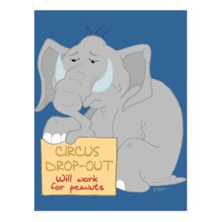 Arbeitslose Zirkus-Elefant-Postkarte Postkarte