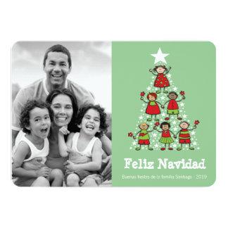 Árbol Niños Tarjeta de la Foto de Navidad Linda 12,7 X 17,8 Cm Einladungskarte