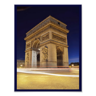 Arc de Triomphede l'Étoile im Paris-Nachtschuß Fotografischer Druck
