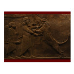 Archäologische Entdeckung: Assyrian Löwe-Jagd-Fres Postkarte
