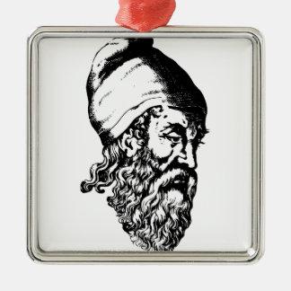 Archimedes Quadratisches Silberfarbenes Ornament