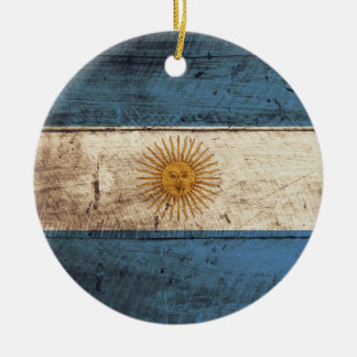 Argentinien-Flagge auf altem hölzernem Korn Keramik Ornament