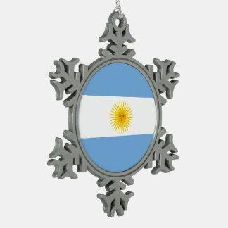 Argentinien-Flagge Schneeflocken Zinn-Ornament