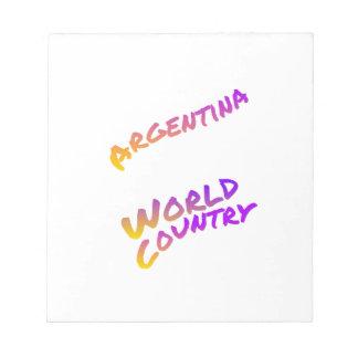 Argentinien-Weltland, bunte Textkunst Notizblock