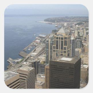 Arial Ansicht von Seattle Quadratischer Aufkleber
