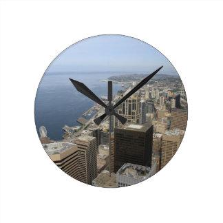 Arial Ansicht von Seattle Runde Wanduhr