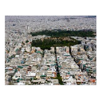 Ariel-Ansicht von Athen auf einer Postkarte