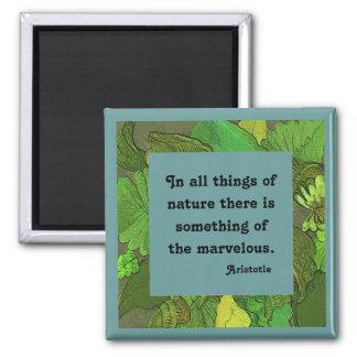 Aristoteles-Zitat auf Naturmagneten Quadratischer Magnet