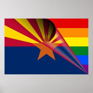 Arizona-Flaggen-Gay Pride-Regenbogen Poster