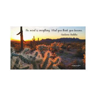Arizona-Sonnenuntergang in Sonoran Wüste mit Leinwanddruck