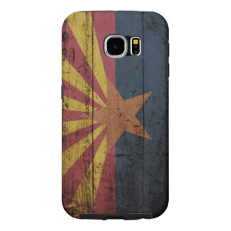 Arizona-Staats-Flagge auf altem hölzernem Korn