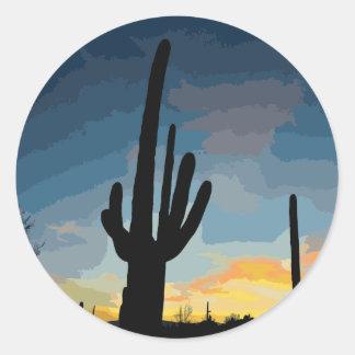 Arizonasaguaro-Kaktus-südwestlicher Runder Aufkleber