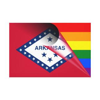 Arkansas-Flaggen-Gay Pride-Regenbogen Leinwanddruck