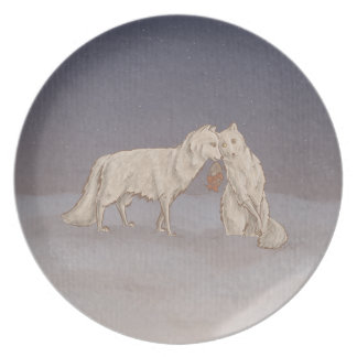 Arktische Fuchs-Platte Flache Teller