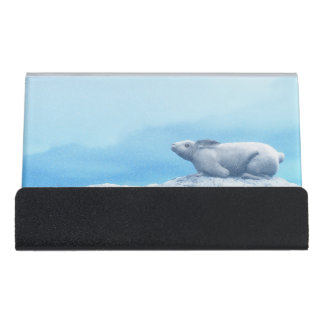 Arktische Hasen, Lepus arktisch oder polares Schreibtisch-Visitenkartenhalter