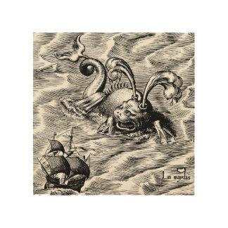 Arktische Seeungeheuer-und Segelschiff-Weltkarte Holzdruck