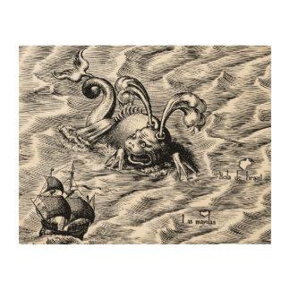 Arktische Seeungeheuer-und Segelschiff-Weltkarte Holzwanddeko
