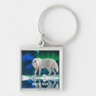 ARKTISCHE WOLF u. Aurora-Fantasie-Kunst Keychain Schlüsselanhänger