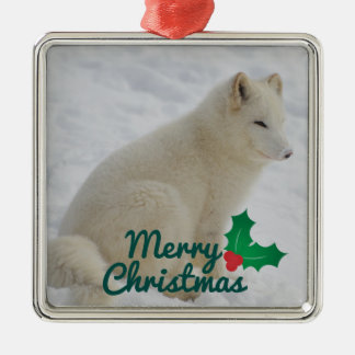 Arktischer Fox Silbernes Ornament