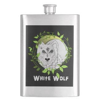 Arktischer weiße Wolf-wildes Tier-Entwurf Flachmann
