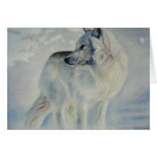 """""""Arktischer Wolf im Winter"""" Weihnachtskarte Karte"""