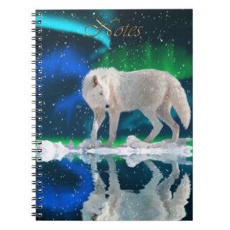 Arktischer Wolf u. Aurora Tier-Anhänger Notizbuch Spiral Notizblock
