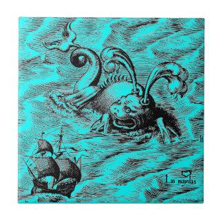 Arktisches Seeungeheuer und Segelschiff Keramikfliese