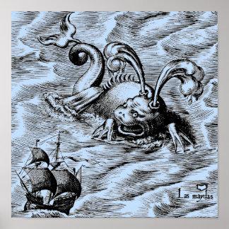 Arktisches Seeungeheuer und Segelschiff Poster