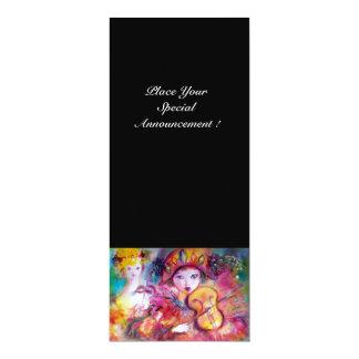 ARLECCHINO UND COLOMBINA /Venetian Karneval 10,2 X 23,5 Cm Einladungskarte