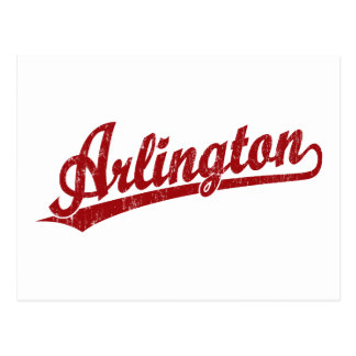 Arlington-Skriptlogo im Rot Postkarte
