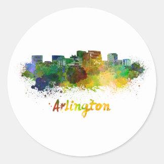 Arlington skyline im Watercolor Runder Aufkleber