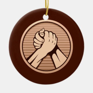 Arm-Wrestling Bronze Keramik Ornament