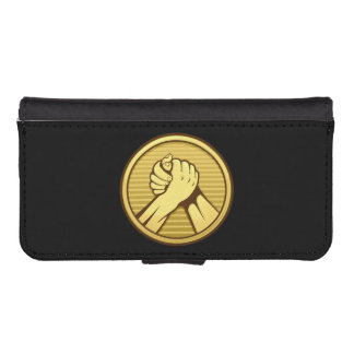 Arm-Wrestling Gold iPhone SE/5/5s Geldbeutel Hülle