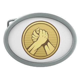 Arm-Wrestling Gold Ovale Gürtelschnalle