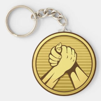 Arm-Wrestling Gold Schlüsselanhänger