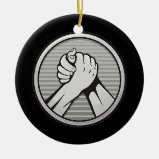 Arm-Wrestling Silber Keramik Ornament