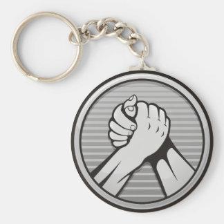 Arm-Wrestling Silber Schlüsselanhänger