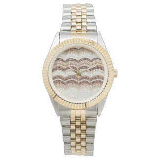 Armband-Uhr der Zwei-Ton der beige Mosaik-Frauen Armbanduhr