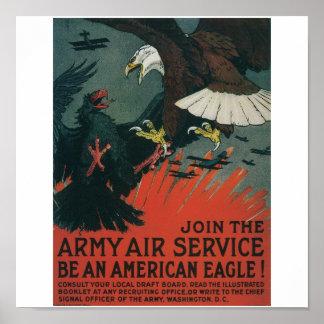 Armee-Fluglinienverkehr circa 1917 Poster