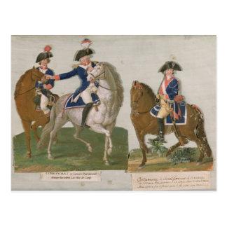 Armee-Kommandant und ein Offizier Postkarte