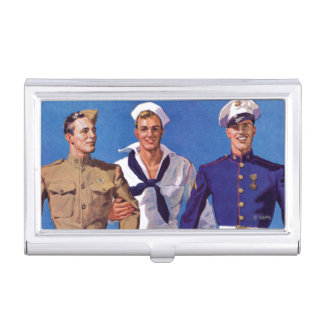 Armee, Marine u. Marinesoldaten Visitenkarten Dose