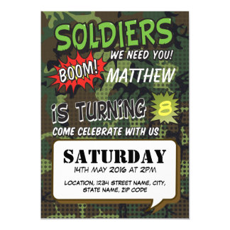 Armee-Tarnungs-Comic-Pop-Kunst-Kindergeburtstag 12,7 X 17,8 Cm Einladungskarte
