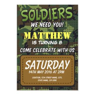 Armee-Tarnungs-Comic-Thema-Kindergeburtstag 12,7 X 17,8 Cm Einladungskarte