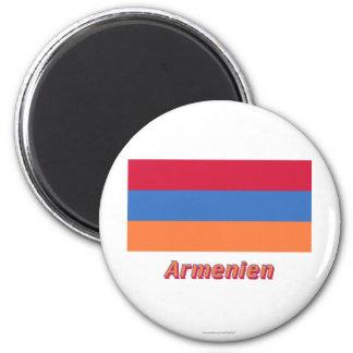 Armenien Flagge MIT deutschem Namen Runder Magnet 5,1 Cm