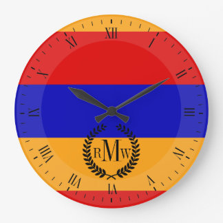 Armenische Flagge Große Wanduhr