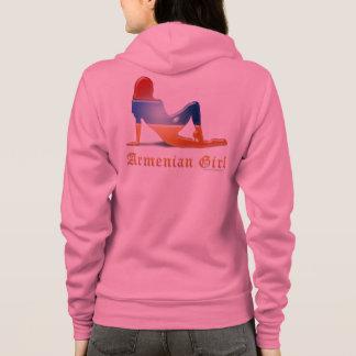 Armenische Mädchen-Silhouette-Flagge Hoodie
