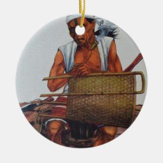 Armer Eingeborener Rundes Keramik Ornament
