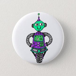 Arnie Roboter, lila und grün Runder Button 5,7 Cm