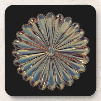 Art deco glass gem flower medallion coaster getränkeuntersetzer